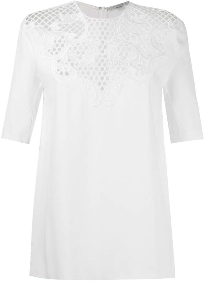 Stella McCartney perforated lace panel blouse