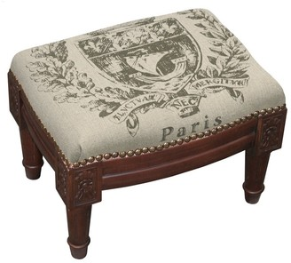 Copper Grove Castletown Paris Crest Upholstered Wood Footstool