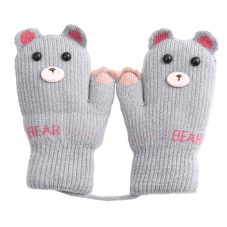 Baby Mittens on String for Toddler Boys Girls Knitted Gloves with Warm Plush Lining Thermal Magic Mittens Gloves Hanging Neck Full Finger Gloves Winter Cold Weather Gloves for Newborn Infant Age 0-3 Y
