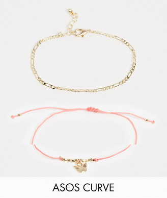 ASOS DESIGN Curve pack of 2 bracelets with butterfly charm in gold tone