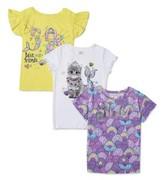 365 Kids from Garanimals Girls/' Short Sleeve Sequin Patch Print Baseball Tee