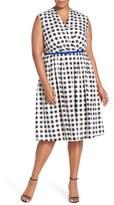 Ellen Tracy Plus Size Women's Belted Gingham Print Surplice Fit & Flare Dress