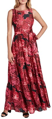 Tahari ASL Petite Sleeveless Tiered Maxi Dress (Wild Aster Shimmer) Women's Dress