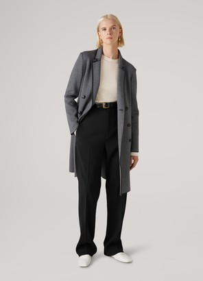 St. John Graphic Twill Knit Double Breasted Trench Coat
