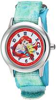 Disney Girl's 'Ariel' Quartz Stainless Steel and Nylon Casual Watch, Color:Green (Model: WDS000049)