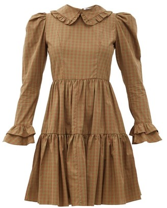 Batsheva Lucy Checked Cotton Mini Dress - Brown