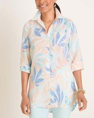 No Iron Linen Multi-Colored Printed Shirttail Hem Tunic
