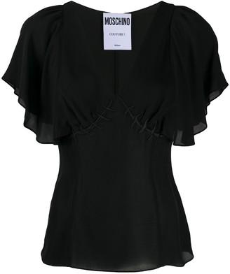 Boutique Moschino Ruffled-Sleeve Silk Top