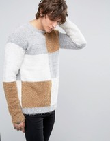 Asos Grid Jumper In Eyelash Yarn