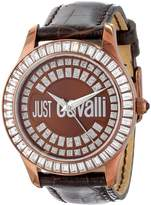 Just Cavalli Women's Gold Ion-Plated Coated Stainless Steel Genuine Leather Swarovski Crystal Watch