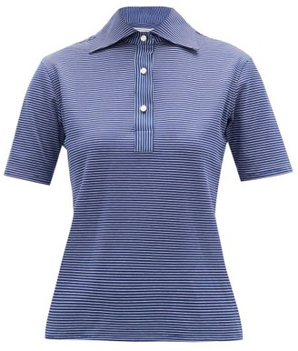 Giuliva Heritage Collection The Daphne Striped Cotton Polo Shirt - Womens - Navy Multi