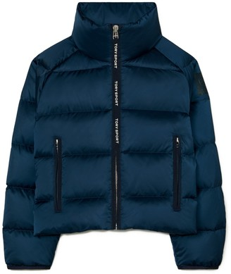 Tory Burch Cropped Performance Satin Down Jacket