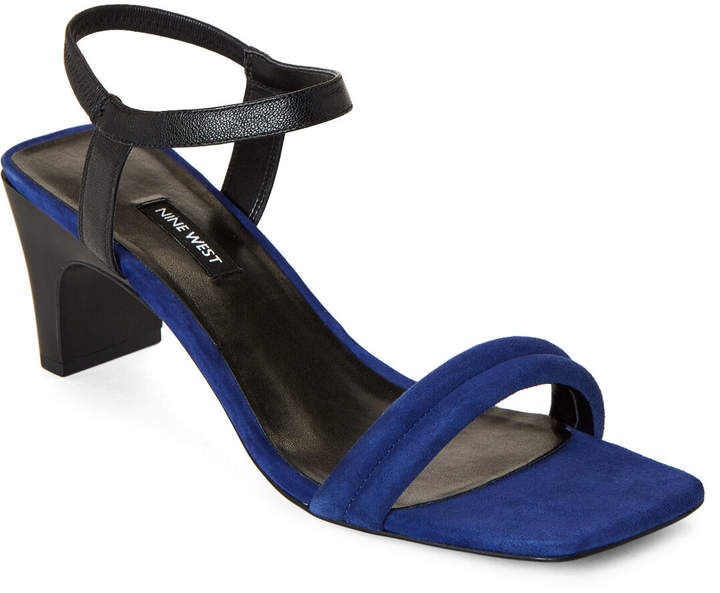 Nine West Dark Blue & Black Urgreat Leather Sandals