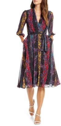 Maison Tara Stripe Paisley Chiffon Faux Wrap Dress
