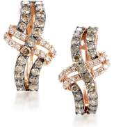 LeVian 14K Rose Brown Diamond Crossed Hoop Earrings
