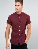 Asos Skinny Shirt In Burgundy With Short Sleeves