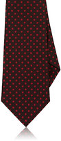 Kiton Men's Dotted Silk Twill Necktie-BURGUNDY