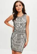Missguided Silver Sequin Beaded Mini Dress, Grey
