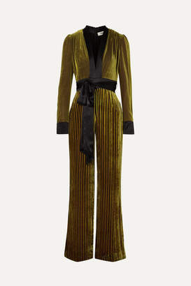Diane von Furstenberg Satin-trimmed Striped Devore-velvet Jumpsuit - Gold