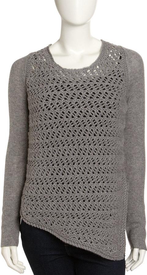 Helmut Lang Mixed-Knit Asymmetric Sweater, Light Gray