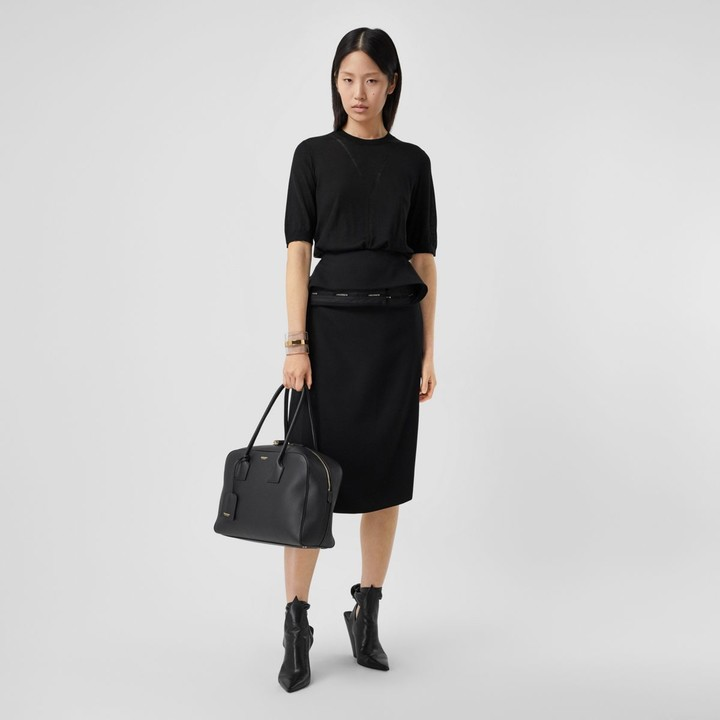 Burberry Short-sleeve Logo Intarsia Wool Silk Cashmere Top