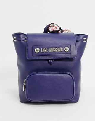 Love Moschino backpack with scarf in black