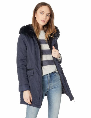 French Connection Women's Parka with Faux Fur Lined Hood