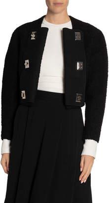 Proenza Schouler Boucle Tweed Long-Sleeve Crewneck Lock Jacket
