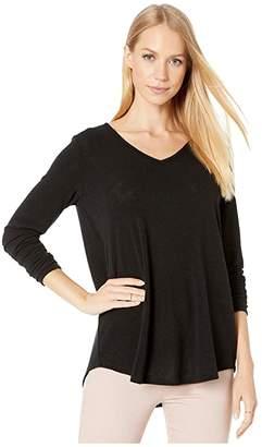 Michael Stars Tahoe Jersey Bonnie Long Sleeve High-Low Tunic (Black) Women's Clothing