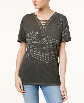 GUESS Women's Short Sleeve Lace up Vneck Rocker T-Shirt