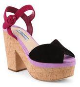 Prada Tri-Tone Suede & Cork Platform Sandals