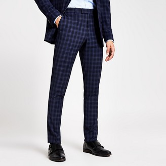 River Island Navy check slim fit suit trousers