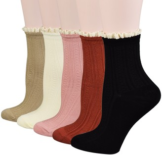 Fitu Women's Vintage Dress Socks Ruffle Frilly Cute Rayon Lace Trim Socks 5 Pairs Pack in Gift Box - - One Size