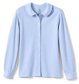 Classic Little Girls Long Sleeve Button Front Peter Pan-Blue