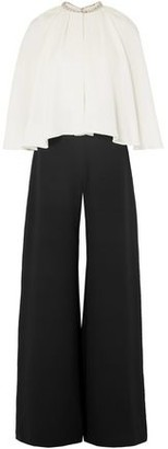 Marchesa Layered Embellished Silk-cady Wide-leg Jumpsuit
