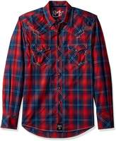 Wrangler Men's Rock 47 Long Sleeve Plaid Shirt, Red/Navy, XXL