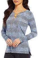 MICHAEL Michael Kors Reptile Print Matte Jersey Lace-Up Neck Tunic
