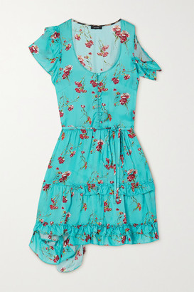 R 13 Cold-shoulder Ruffled Floral-print Satin Mini Dress - Blue