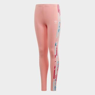 adidas Girls' Floral Print 3-Stripes Leggings