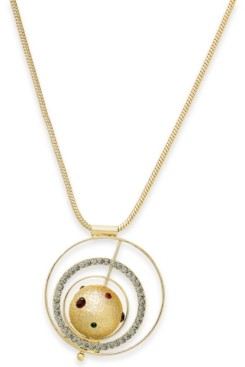 "Thalia Sodi Gold-Tone Pave Orbital Pendant Necklace, 33"" + 3"" extender, Created For Macy's"