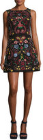 Alice + Olivia Lindsey Sleeveless Embroidered Dress, Black Multicolor