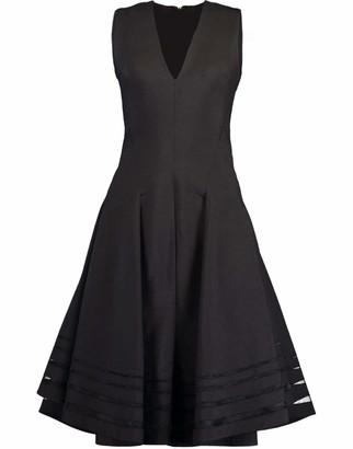 Donna Karan Sleeveless Midi Dress with Full Skirt