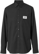 Burberry Logo Detail Stretch Cotton Poplin Shirt
