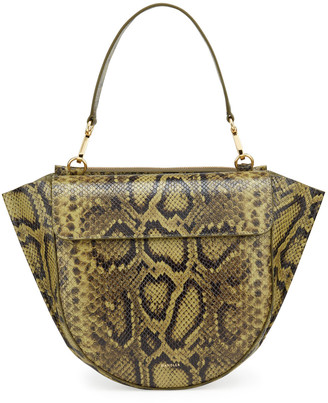 Wandler Hortensia Medium Python-Print Top Handle Bag