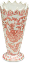 AA Importing Chinoiserie Red & White Sawtooth Vase