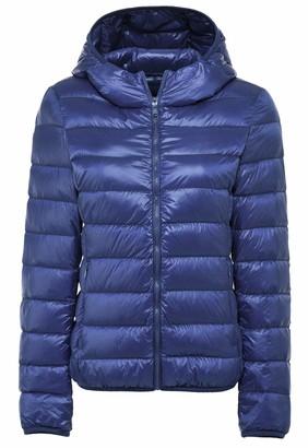 Cross1946 Women's Packable Down Hooded Jacket Puffer Coat Ultra Light Weight Short Down Coat XL