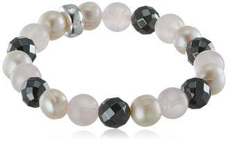 "Thomas Sabo Pink White Grey"" Rose Quartz Freshwater Pearl Reconstructed Hematite Charm Bracelet"