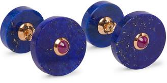 Villa 18-Karat Gold, Lapis Lazuli And Ruby Cufflinks
