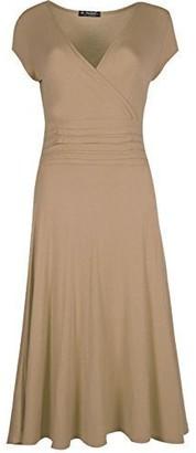 Fashion Star Womens Pleated Dress Plain V Neck Front Wrap Flared Franki Skater Dress Khaki