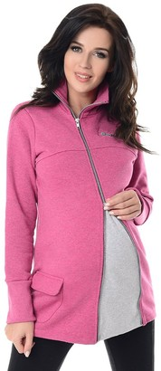 Purpless Maternity Hoodie Across Body Adjustable Zip Cowl Neck Pullover Woman 9055 (14